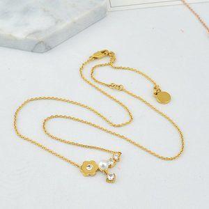 Michael Kors Zircon Pearl Flower Necklace